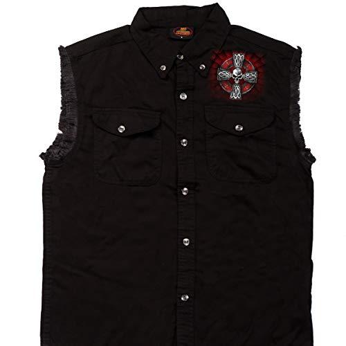 Hot Leathers GMD5022 Mens 'Celtic Cross' Sleeveless Denim Black Shirt - Medium
