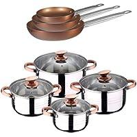 San Ignacio -  Batería de cocina 4 cacerolas 4 tapas de vidrio y 3 sartenes 18/22/26, acero inoxidable, inducción