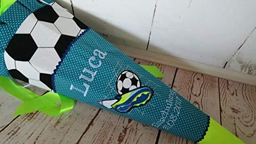 #84 Fussball Fussballschuh Schultüte Stoff + Papprohling + als Kissen verwendbar