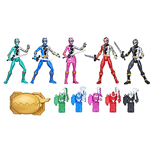 Power Rangers Dino Fury 5 Ranger Team Multipack 6-Inch Action Figure Toys with Dino Fury Keys and Chromafury Saber Weapon Accessories (Amazon Exclusive)