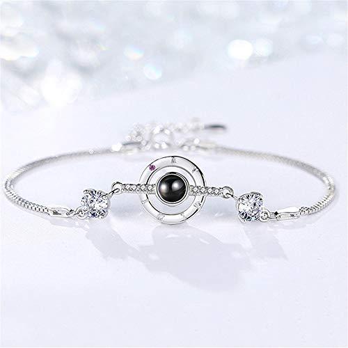 Liefde zonder einde van de vriendschap damesarmband S925 massief zilver 100 talen, Ich liebe Dich 520 armband cadeau Valentijnsdag paar armband
