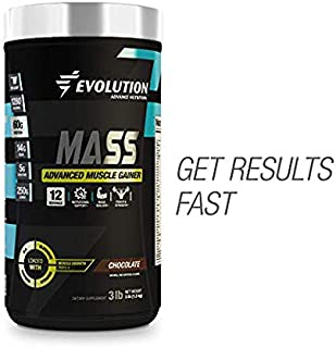 Muscle Gainer Protein Mass Advanced by Evolution Advance Nutrition (3 lbs, Chocolate) | 1280 Cal, 60gr Protein, 250gr Carbs, 14g BCAA's & 5gr Creatine | + Glutamine + CLA + Digestive Enzyme Blend