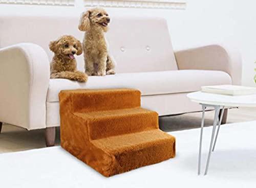 Hengz Escalera de perro para perros mayores antideslizante de tres pasos para mascotas con cubierta de felpa, cama suave para perros y sofá, 39 x 41 x 31 cm