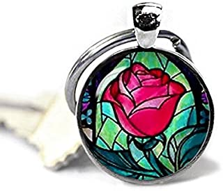 beauty and the beast rose keychain