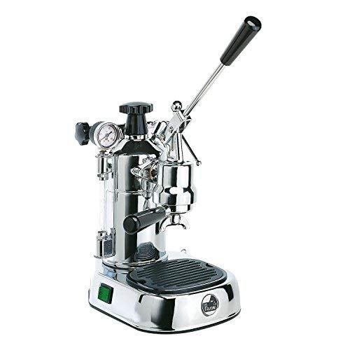 LaGondola Bundle – Cafetera expreso cromada La Pavoni Professional con manómetro y prensa de metal Motta Soporte portafiltro y juego de 6 tazas de cristal Made in Italy