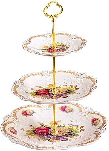 YAeele Cuenco Snack-Dip Cuencos vajilla cerámica Placa de Tres Capas de Fruta, la Placa Blanca Aperitivo Europea, Placa de Fruta Seca, Buffet de postres, bocado de bandejas Verticales Sala de Mesa de
