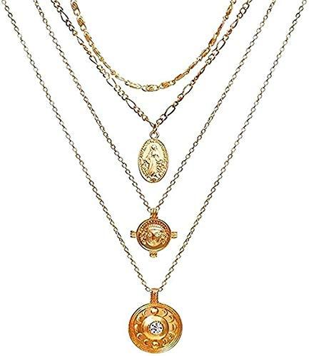 LBBYLFFF Collar de Moda Collar Vintage Retrato de Oro Collares Pendientes de Perlas para Mujeres Collar Largo de Perlas Bohemias Regalos de joyería