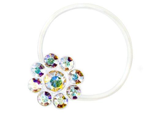 Zehenring Zirkonia Blume irisierend - 925 Sterling Silber - Fuß Schmuck Damen Fuß-Ring Toe-Ring