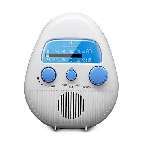 L&R Wasserdichtes Duschradio, Dusche Mit Einstellbarem Volumen, AM-FM-Tastenlautsprecher, Bad-Duschlautsprecher 14.5 * 12cm/Weiß.
