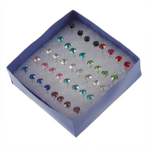 TOOGOO 1 Caja 20 Pares Pendientes Perforacion de Orejas Cristal Color Mezclado
