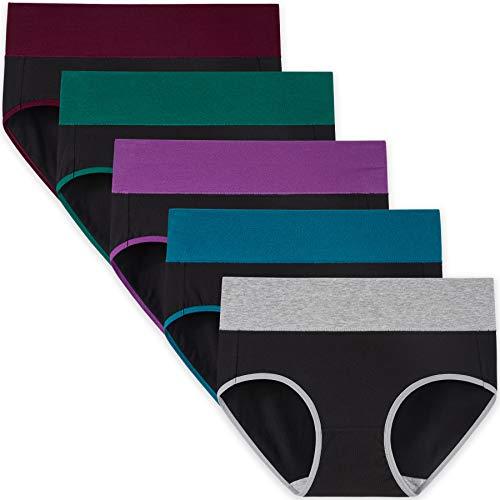 INNERSY Unterwäsche Damen Baumwolle Kontrastfarbener Bund Slips High Waist Unterhosen 5 Pack (3XL, Kontrast Schwarz)