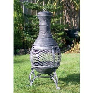 Garden Stone Effect 89cm Cast Iron Log Burner Firepit & Chimenea Outdoor Heating - NEW & FREE DELIVERY