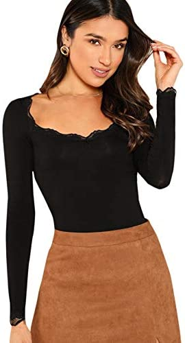 SweatyRocks Womens Long Sleeve Scoop Neck Lace Trim Basic Slim fit Tee Shirt Top Black XS product image