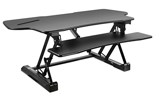 Mount-It! Electric Standing Desk Converter, 48 Inch Extra Wide Motorized Sit Stand Desk with Built in USB Port, Ergonomic Height Adjustable Workstation, Black (MI-7962)