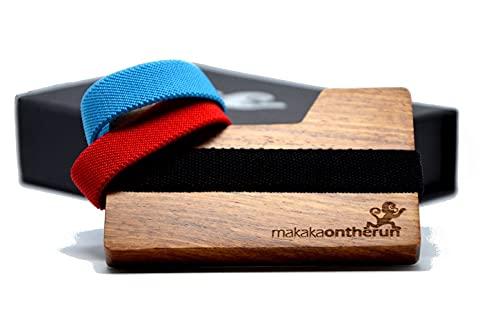 MakakaOnTheRun - Cartera de madera - Mini tarjetero con pinza para billetes- Hecha a mano a partir de 1 trozo de palo de rosa procedente de las montañas de África