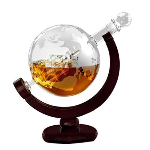 S-TROUBLE Vodka Whisky Vino Globo Botella de Copa de Vino Dentro de Madera Fina y Barco