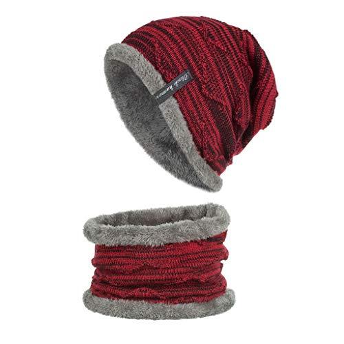 Dasongff Damen Herren Wintermütze Beanie Strickmütze Warme Winter Mütze und Schal mit Fleecefutter Bequemer