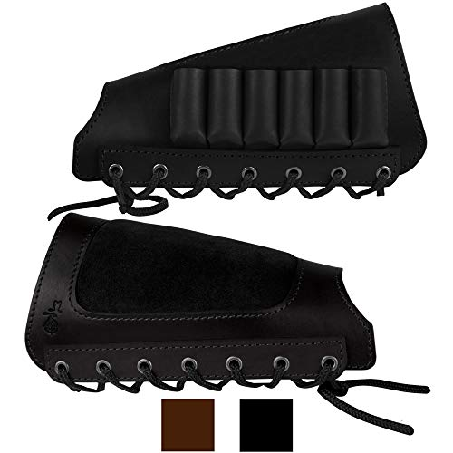 BRONZEDOG Leather Buttstock Rifle Stock Ammo Holder Left Handed 12 Gauge Bullet Carrier Hunting Accesseories Black Brown (Black)