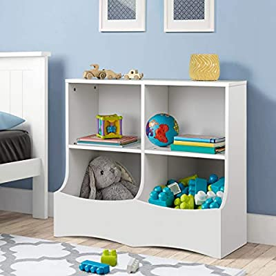 """amzdeal Toy Storage Organizer, Kids Playroom Storage with 2 Shelf and 1 Deep Bottom Bin for Books and Toys in The Playroom, Bedroom, Nursery, 31.5"""" x W: 15.8"""" x H: 27.6'', White"""