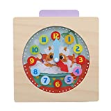 Weiy Reloj de enseñanza de Madera para niños Número y Tiempo Juego Educativo Regalo para niños