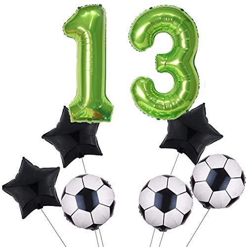 Juego de globos de fútbol para 13 cumpleaños, decoración para fiestas de fútbol, color verde, número 13, globos con forma de estrella y estrella, color negro