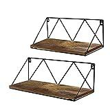 EdenseeLake Floating Wall Shelves Set of 2, Wood Storage Shelf with Metal Brackets for Bedroom, Bathroom, Living Room, Kitchen and Office