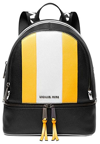 MICHAEL Michael Kors Women's Leather Signature Rhea Zip Medium Backpack Handbag (Sunflower MLT)