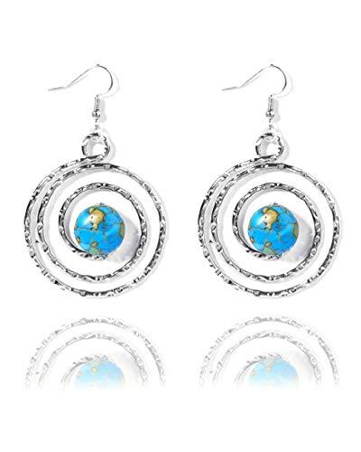 VintFlea Pendientes colgantes con textura de howlita en espiral con piedras preciosas auténticas azules y amarillas para mujer