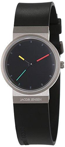 JACOB JENSEN Damen Analog Quarz Uhr mit Kautschuk Armband Item NO.: 650