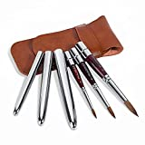 Sable Travel Watercolor Brushes, 3pcs Kolinsky Sable Hair Round Artist Paint Brushes with Pocket Protective Case, Perfect for Watercolor Acrylics Gouache Ink Painting