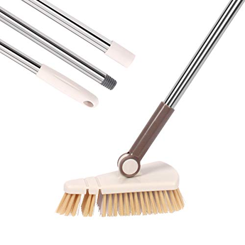 Tile &Tub Floor Scrub Brush, Rotatable Detachable Tub Scrub Brush with Long Handle, 50' Stiff Bristle Grout Brush for Cleaning Removable Tub, Bathroom, Tile, Wall and Kitchen