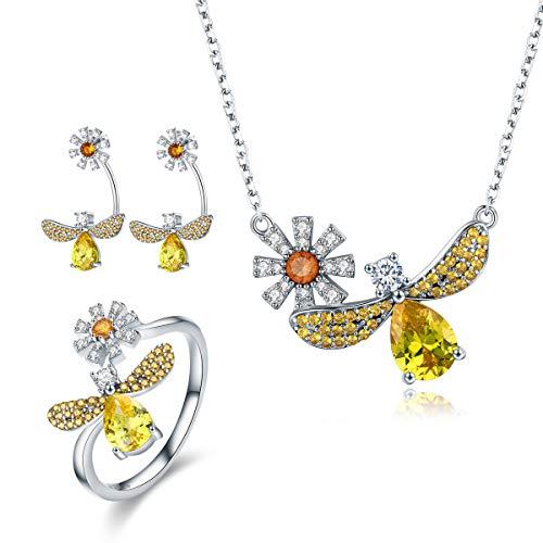 PUDDINGY® 925 Sterling Silber Collier-Set & Exquisite Geschenkbox, Kristall-Halskette OHRRING SCHMUCK Set Geburtstags-Geschenk für Frauen für Sie