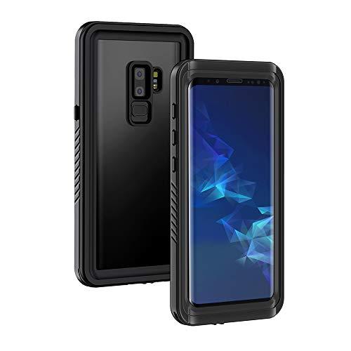 Lanhiem Funda Impermeable Samsung S9 Plus, Carcasa Resistente Al Agua IP68 Certificado [Protección de 360 Grados], Carcasa para Samsung Galaxy S9+ Plus con Protector de Pantalla Incorporado, Negro