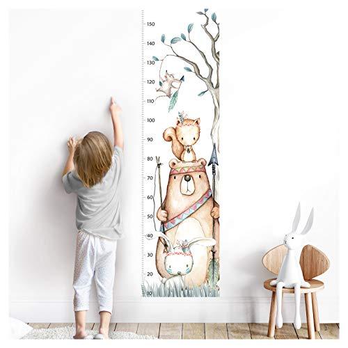 Little Deco Wandaufkleber Kinderzimmer Junge Mädchen Messlatte | 150cm Bär Hase Eichhörnchen | Tiere Wandtattoo Kinder Wandsticker Aufkleber Dekoration DL457