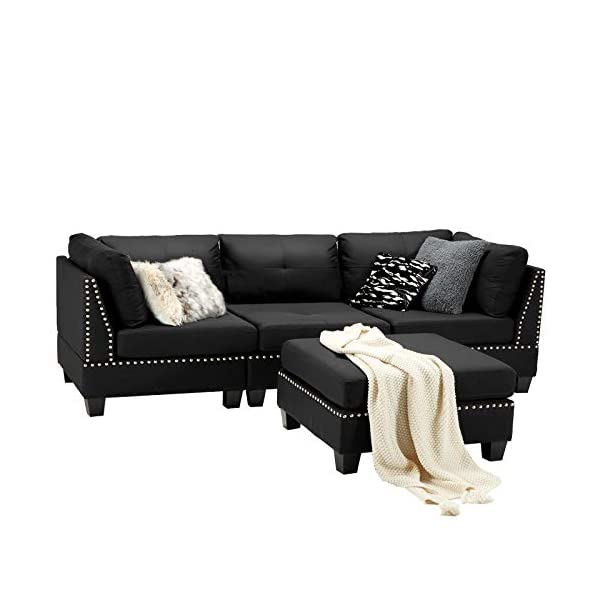 Esright Convertible Sectional Sofa Couch with Ottoman 2