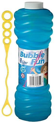 Alldoro Seifenblasenflasche, 1 l Seifenlauge zum Nachfüllen oder als Vorrat, mit extra langem Pustestab