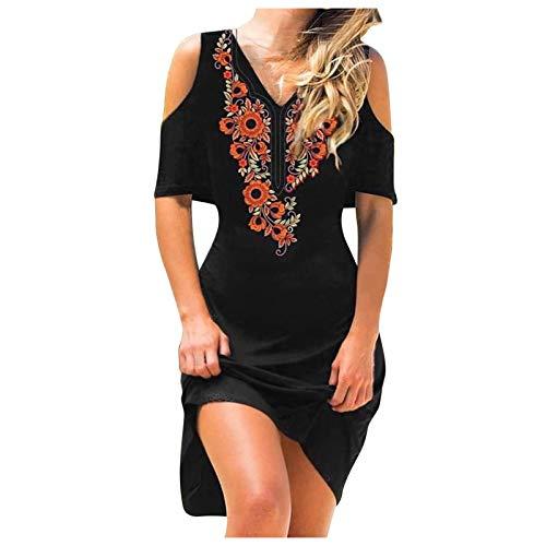 FORESTIME Summer Dresses for Women 2021,Women Casual Floral Print Dress V-Neck Cold Shoulder Long Sleeve Slim Dress,Cocktail Dresses for Women Evening(B-Black,XX-Large)