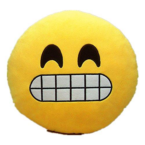LI&HI Emoji Lachen Emoticon Kissen Polster Dekokissen Stuhlkissen Sitzkissen Rund(Laut Lachen)