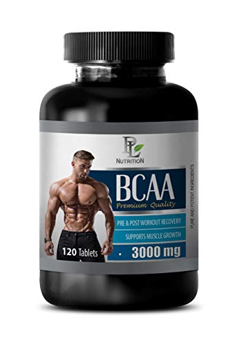 Muscle Growth Dietary Supplement Capsules - BCAA 3000 MG PRE & Post Workout Recovery - Premium Quality - bcaa with Energy - 1 Bottle 120 Tablets