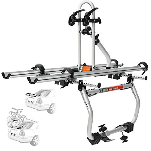 CyclingDeal 2 Bike Rack for Car SUV Universal Platform Carrier - Bicycle Trunk Mount Rear Racks -Sedan, Hatchback, SUV
