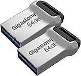 Gigastone Z90 [2-Pack] 64GB USB 3.1 Flash Drive, Mini Fit Metal Waterproof Compact