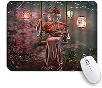 KAPANOUマウスパッド 日本の芸者女の子アニメスタイル妖精夜着物スイングアンティーク光沢のあるランタンイメージを着ているアジアの女の子 ゲーミング オフィ滑り止めゴム底 ゲーミングなど適用 用コンピュータ