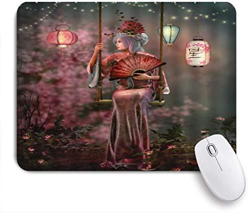 HUAYEXI Stoff Mousepad,Japanisches Geisha Mädchen Anime Art Feen Nacht asiatisches Mädchen, das Kimono Schaukel antikes glänzendes Laternenbild trägt,Rutschfest eeignet für Büro und Gaming Maus