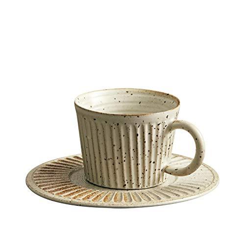Taza de café importada japonesa con disco de cerámica gruesa rayas cafetería electrodomésticos profesionales hechos a mano