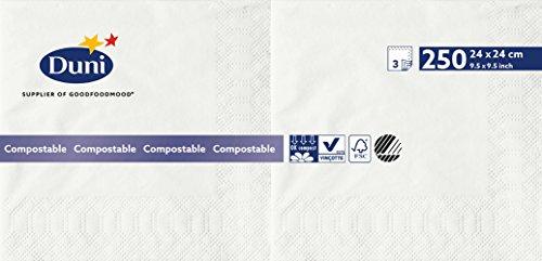 Duni 168413 3 plis Serviettes en papier, 24 cm x 24 cm, Blanc (lot de 2000)