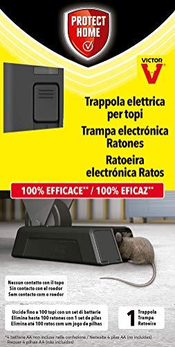 PROTECT HOME Trampa eléctrica para Ratones, 100{5ce35dcf062fbe30a18fe035efa05c51c4146a82f28dbcc311cdf29daf97ab30} eficaz, Alto Voltaje, 100 descargas. Calidad Victor, Control de roedores