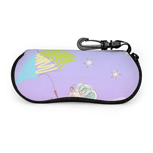 sherry-shop Estuche de gafas con mosquetón Paraguas de oveja bailando lindo Gafas...