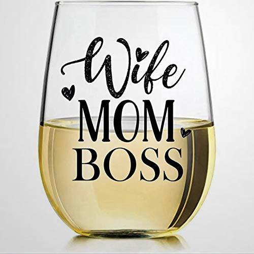 Vaso de vino sin tallo, para esposa y madre, ideal para padre, madre, niño o novia, amiga.