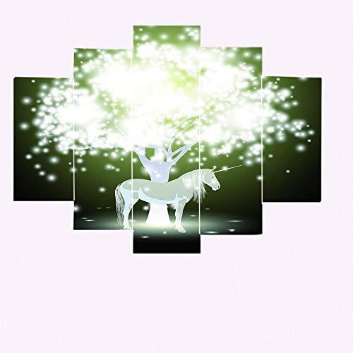 Imprimir Poster Canvas Art 5 Piezas Árbol brillante y unicornio Poster Wall Art Modular Pictures Living Room Home Decor Artwork Gift 150X100CM Cuadro sobre Lienzo - Impresión en Lien