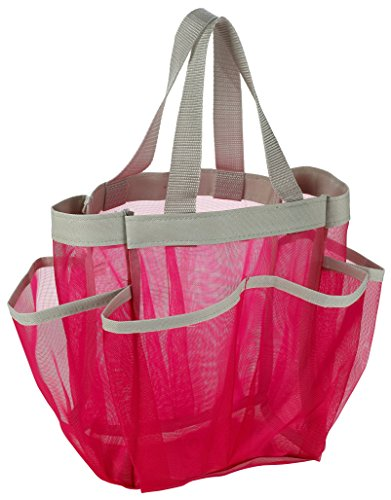 7 Pocket Shower Caddy Tote, Pink - Keep your shower essentials within...